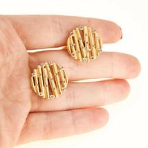 18k gold and diamond Cufflinks Vintage Round gift for men BHS - $987.27