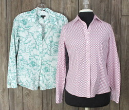Talbots Pink Blouse 4 S Size Green Floral Top Womens 2pc Career Casual Shirts  - $29.21