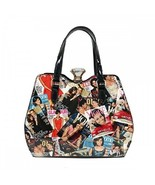 Michelle Obama Magazine Printed Handbag - Mod 0022 color black - $55.95