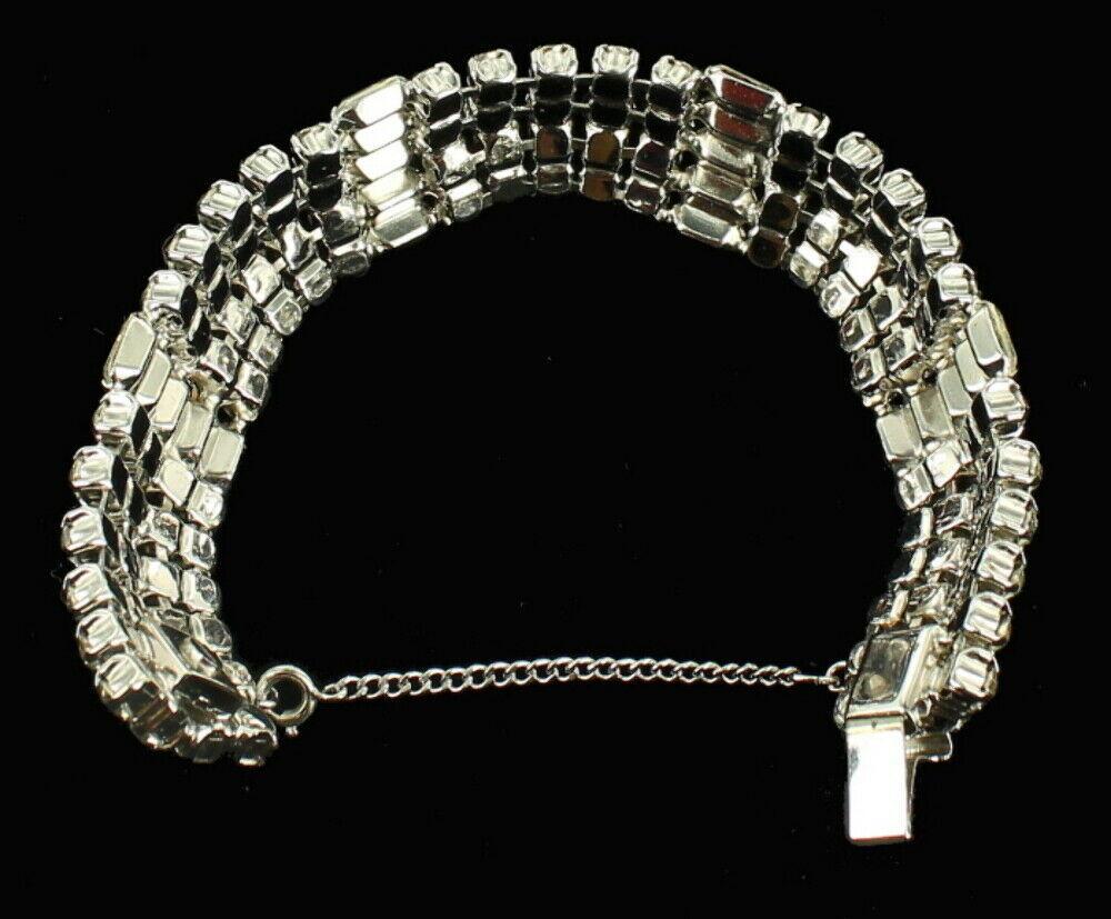 """Vintage Stunning Wiesner Wide Rhinestone Bling Bracelet Best Quality 4 Rows 7"""" image 6"""