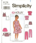 Simplicity 8176 Child's Shirt, Top, Skirt & Pants or Shorts Size 5,6,6X ... - $8.47