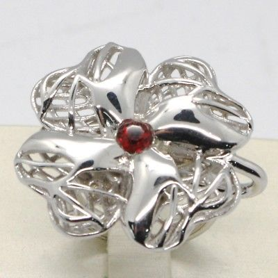 925 STERLING SILVER RING WITH WORKED BIG FOUR LEAF CLOVER BY MARIA IELPO