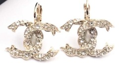 SALE* AUTHENTIC Chanel Gold CC Ribbon Crystal Large Piercing Earrings image 2