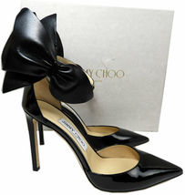 Jimmy Choo KELLEY Bow Pointy Toe Pumps Black Leather Heels Shoes 37.5 Sandals image 6