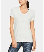 Under Armour Women's Tech Marble Jacquard T-shirt Active Top, Ivory, L - $18.90