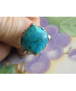 Ring Blue Polished Chrysocolla Stone Sterling Silver Square (7) J&T - $48.95