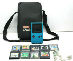 Nintendo Game Boy Color Model #CGB-001 Teal w/ 9 Games Paintball+Jeff Go... - $51.41