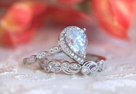 2.89CT Pear Shape D/VVS1 Diamond 14K White Gold Over Silver Engagement Ring Set - $114.39