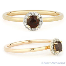 0.41 ct Round Cut Garnet Diamond Halo Setting Right-Hand Ring in 14k Rose Gold - €274,58 EUR