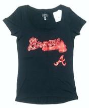 Womens MLB Atlanta Braves Athletic T-Shirts Baseball Navy Blue XS - $12.99