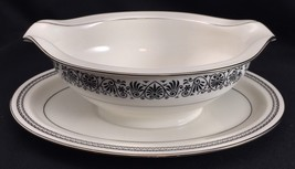 Noritake Prelude Ivory China Gravy Boat with Underplate Black Scroll Pla... - £22.78 GBP