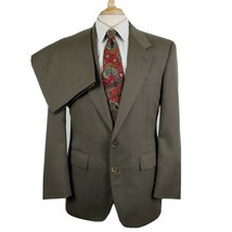 Evan Picone Mens Suit Brown Taupe Plaid 2 Button 40R Pleated Pants Cuffs... - $32.99