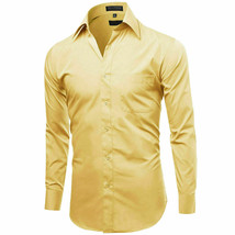 Omega Italy Men's Long Sleeve Regular Fit Light Yellow Dress Shirt - L image 2