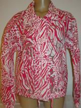Chico's pink white zebra print burnout jacket zip front semi sheer-0 XS 4 - $13.96