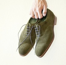 Handmade Men's Green Suede Heart Medallion Dress/Formal Lace Up Oxford Shoes image 1
