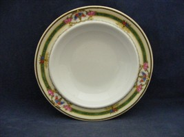 Victoria China Czech  Butter Cheese Bowl  Green on Yellow Band Pink Roses  - $9.95