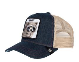 Goorin Bros Animal Farm Snapback Mesh Cap Navy Denim Racoon Bandit Truck... - $39.59