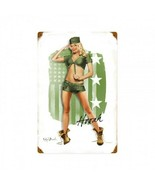 Army Pin Up Girl Metal Sign by Ralph Burch - $29.95