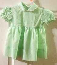 Vintage Baby Girl 9M Pastel Green Dress With Lace Trim Collar Pleated - $14.85