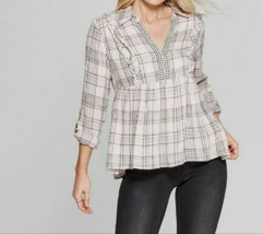 Knox Rose Women's Raw Trim Plaid Long Roll Sleeve Collared Popover Pink ... - $33.45