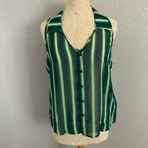 Trac Blue Green Striped Tank Blouse Womens XL Collar Open Back Sheer See... - $12.20