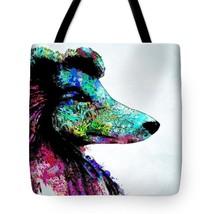 Tote bag All over print Dog 136 blue aqua turquoise pink digital art L.D... - $29.99+