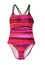Speedo Womens Double Strap Swimsuit 6 Red and Pink Stripe - $19.79
