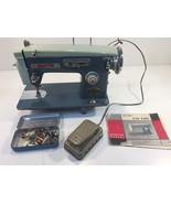 Vintage White De Luxe Zig-Zag Sewing Machine W/ Accessories & Manual Blu... - $99.99