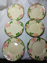 Vintage Franciscan China Desert Rose Set of 6-6.5 inch Cheese/Dessert  P... - $29.70