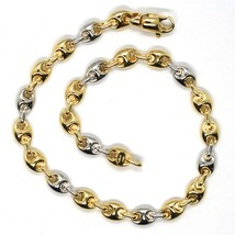 18K YELLOW WHITE GOLD MARINER BRACELET 5 MM, 8.5 INCHES, ANCHOR ROUNDED LINK image 2