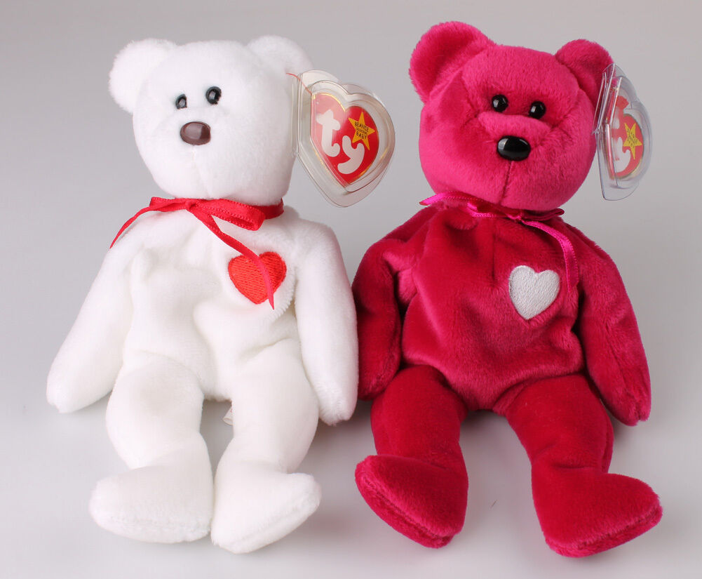 RARE TY MISPELLED VALENTINO & VALENTINA MINT CONDITION SWING TAG BEANIE BABY SET