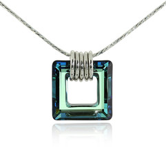 Square Pendant Made with Bermuda Blue Swarovski Crystal 925 Sterling Sil... - $130.88