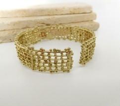 Vintage Brushed Gold Tone Etruscan Style Hinged Bangle Bracelet EE38 - $20.78