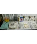 NIP Vintage KITCHEN Junk Drawer Lot  PLATE CASES, FONDUE, TABLECLOTH, RI... - $47.95