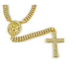 Hip Hop 14K Gold Plated CZ 2 Double Row Rosary Jesus Pendant Chain Neckl... - $20.56