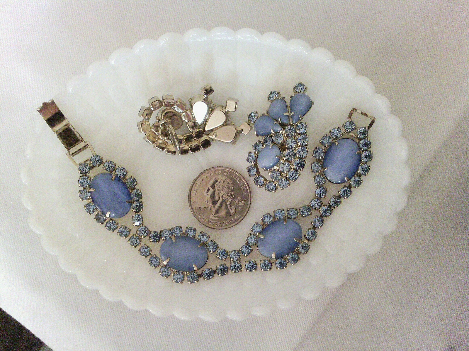 Blue Moonglow and Crystals Vintage Estate Jewelry Set