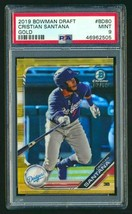 Cristian Santana RC 2019 Bowman DDP Chrome Gold ROOKIE#2/50 PSA10?Dodger... - $98.99