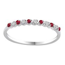 Wedding Ring Band 10k White Gold Diamond & Gemstone Engagement Anniversa... - €120,69 EUR
