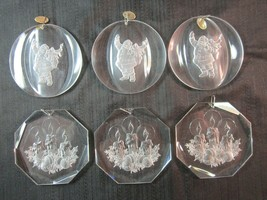 Vintage Lot of 6 Amsun 1977 1979 Beveled Etched Acrylic Christmas Ornaments - $19.99