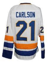Custom Name # Minnesota Fighting Saints Retro Hockey Jersey Carlson #21 Any Size image 2