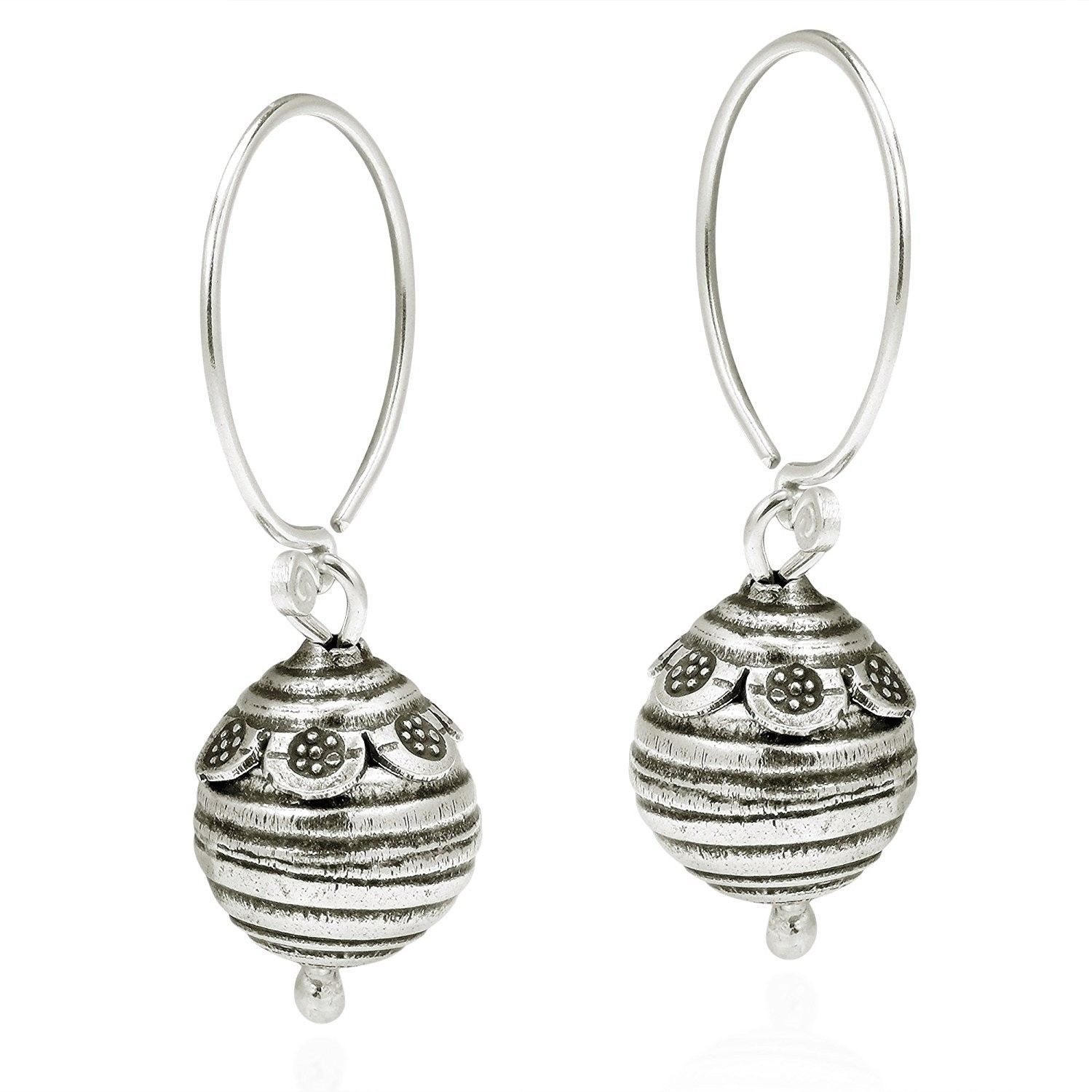 Primary image for Flower Trimmed Bee Hive Ball Drop Hill Tribe Sterling Silver Dangle Earrings