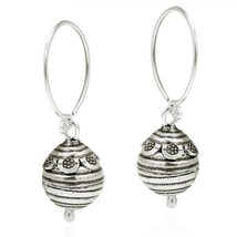 Flower Trimmed Bee Hive Ball Drop Hill Tribe Sterling Silver Dangle Earr... - $92.56
