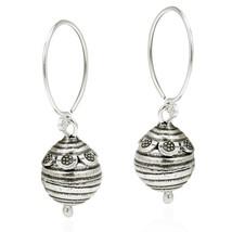 Flower Trimmed Bee Hive Ball Drop Hill Tribe Sterling Silver Dangle Earrings - $92.56