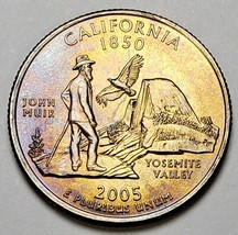2005-P CALIFORNIA STATE QUARTER LIGHTLY COLOR TONED UNCIRCULATED MUST HAVE - $22.99