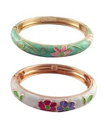 UJOY Fashion Cloisonne Enamel Bangles Women Girls Jewelry Gold Cuff Brac... - $19.65