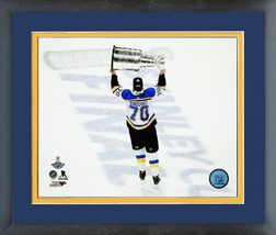 Oskar Sundqvist with 2019 Stanley Cup® Championship Trophy Matted/Framed... - $43.55