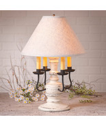 COLONIAL TABLE LAMP & FABRIC SHADE Distressed Vintage White 3 Light Opti... - $372.95
