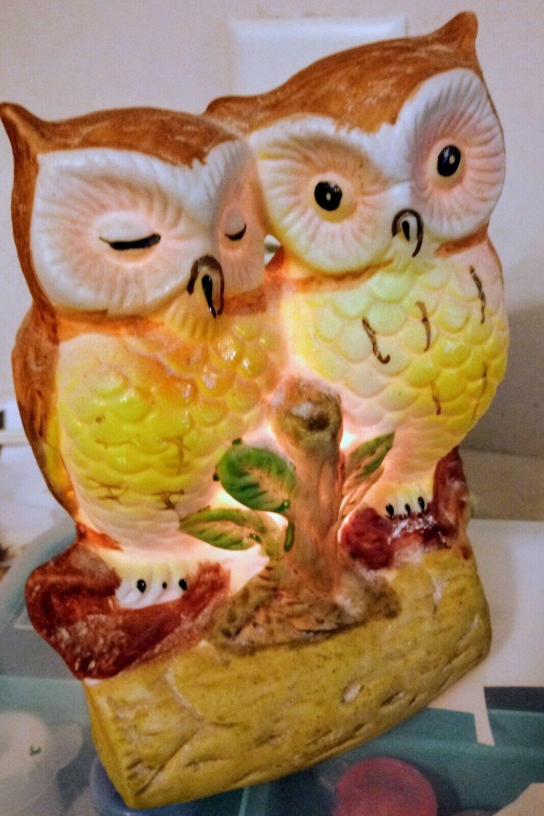 VINTAGE CERAMIC OWL COUPLE ON BRANCH ACCENT TV NIGHT LIGHT