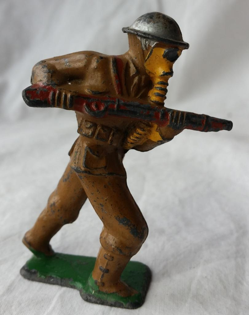 Vintage Barclay Manoil Toy Soldier in Gas Mask Charging with Rifle Cast Lead