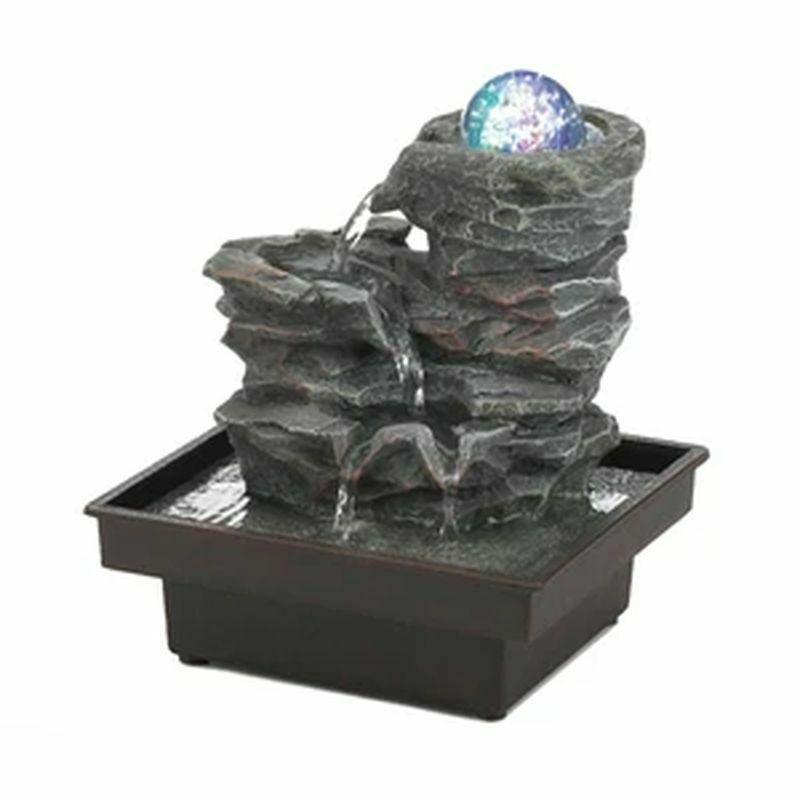 GLASS ORB ON ROCKS TABLETOP FOUNTAIN - $54.44